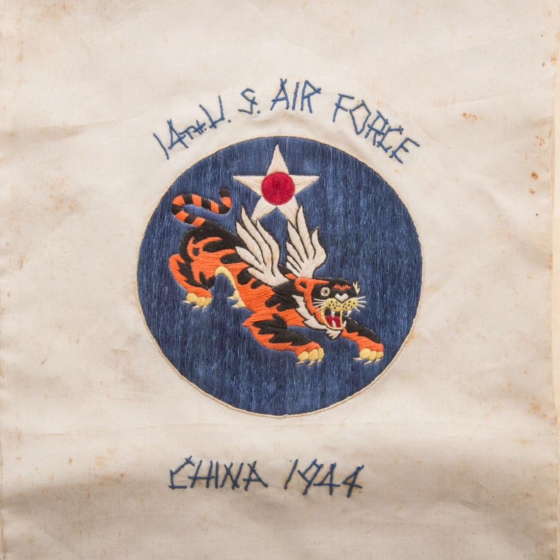 Flying Tigers embroidered silk scarf - 2
