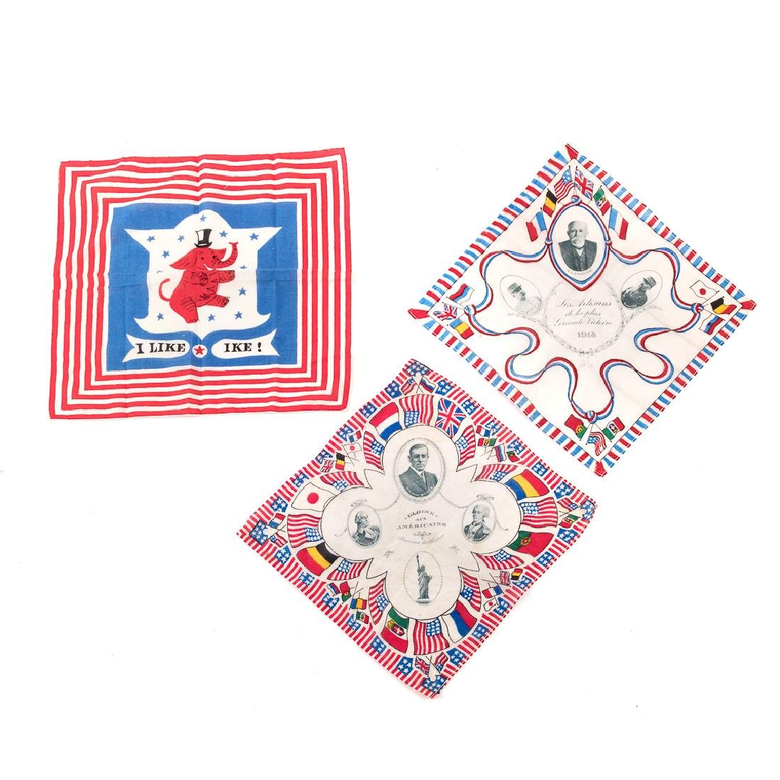 Three commemorative handkerchiefs