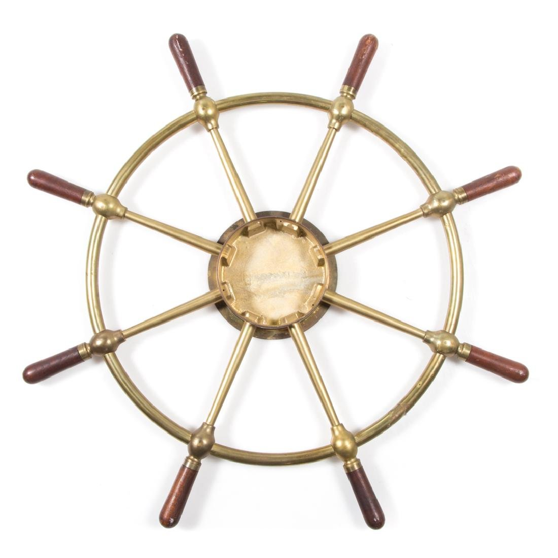 Brass and wood ships wheel clock case