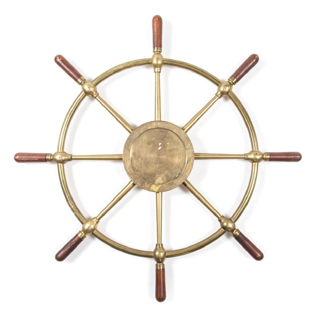 Brass and wood ships wheel clock case - 2