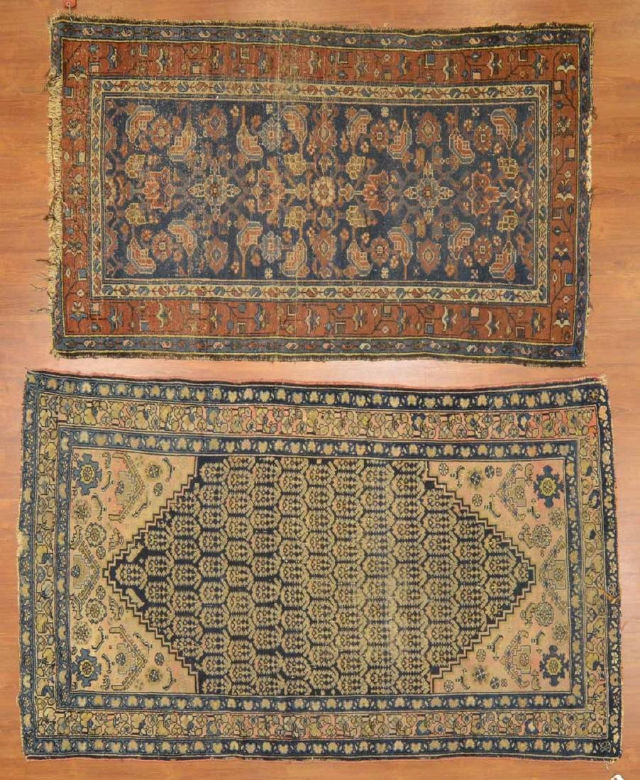 Two antique Hamadan rugs, Persia, circa 1920