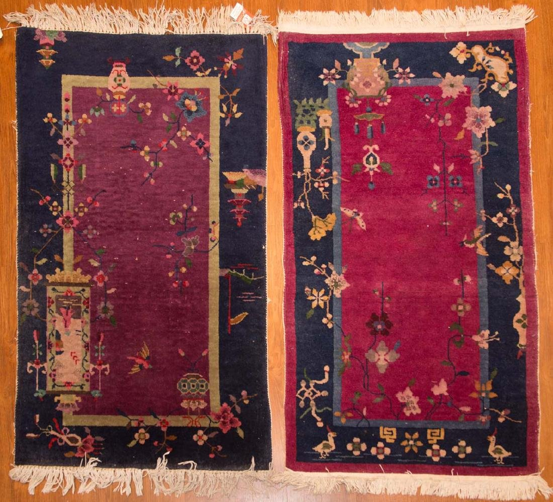 Two Chinese Nichols rugs, approx. 2.6 x 4 each