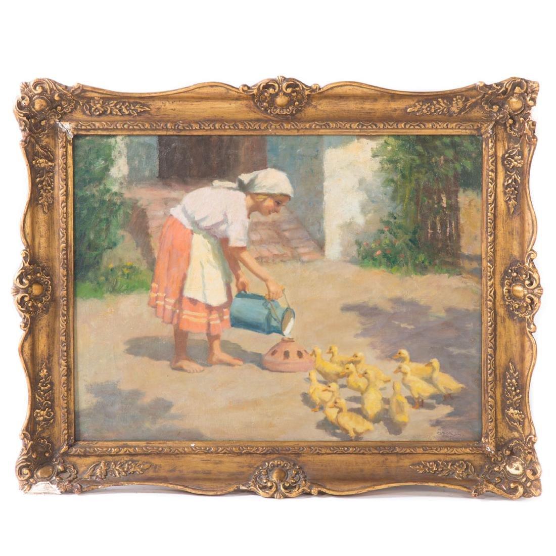 """Janos Laszlo Aldor. """"Feeding Time,"""" oil on canvas"""