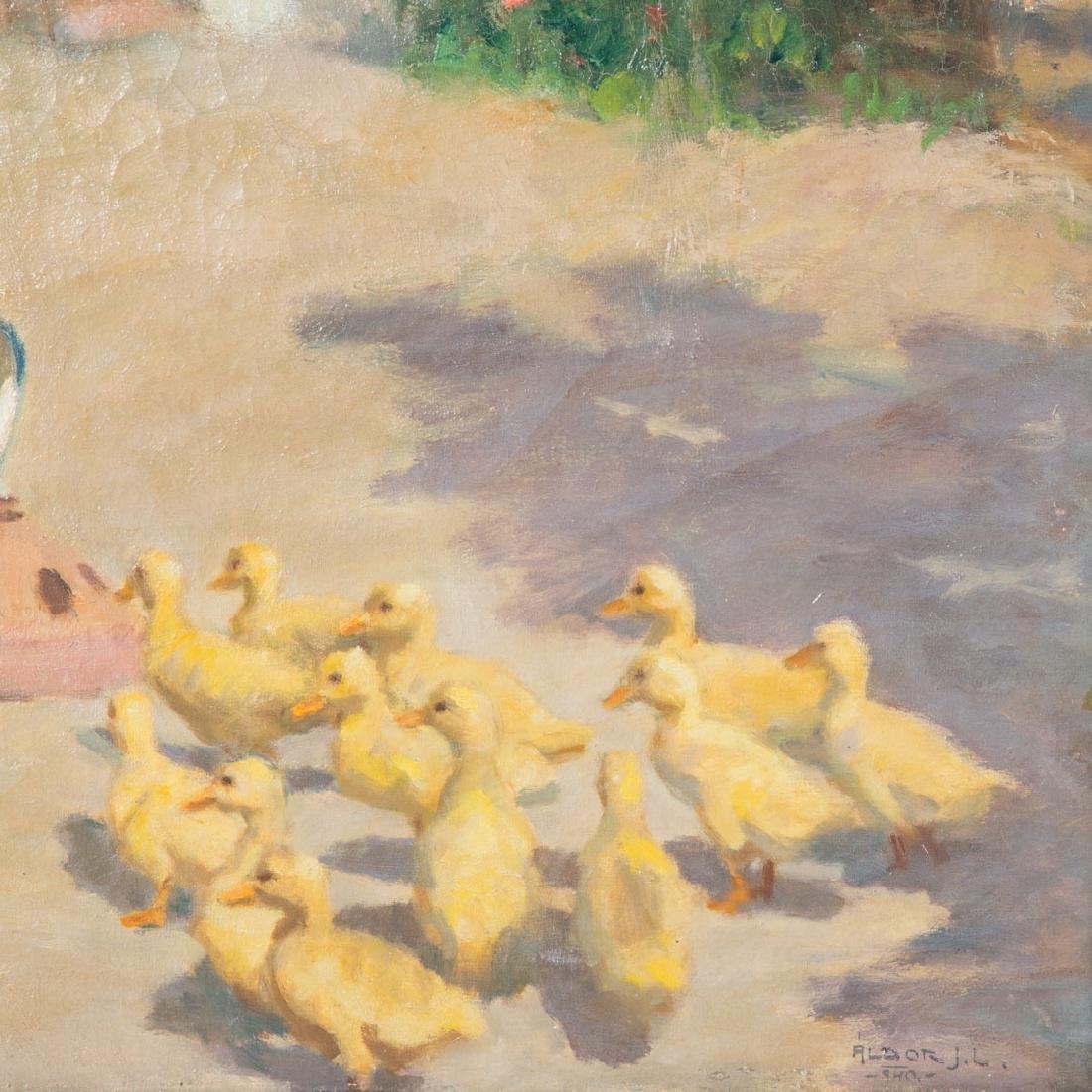 """Janos Laszlo Aldor. """"Feeding Time,"""" oil on canvas - 2"""