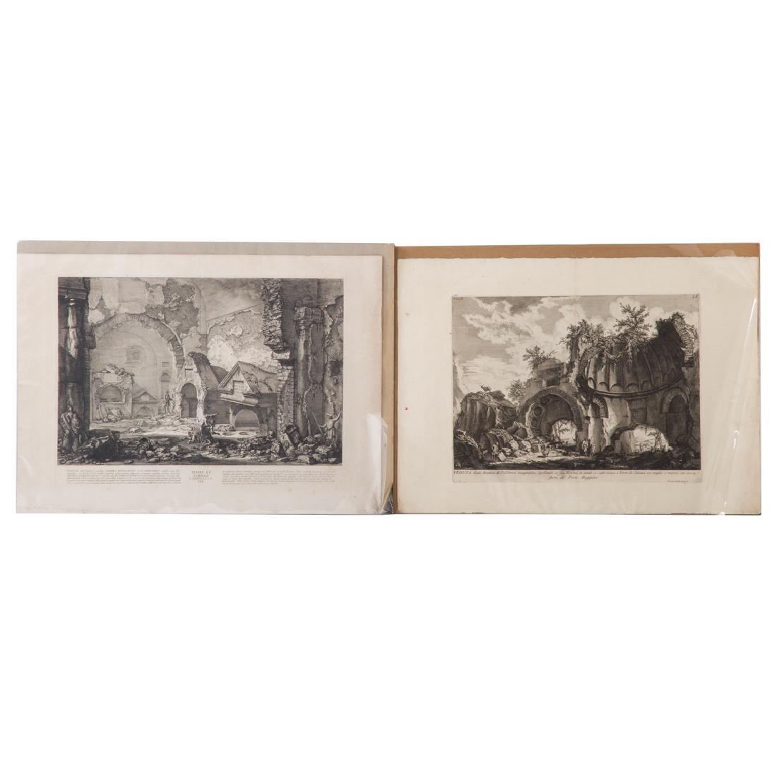 Giovanni Battista Piranesi. 2 unframed engravings