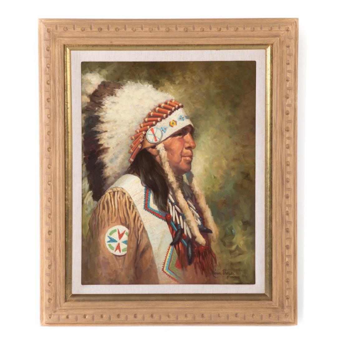 Karen Thayer. Indian Chief, oil