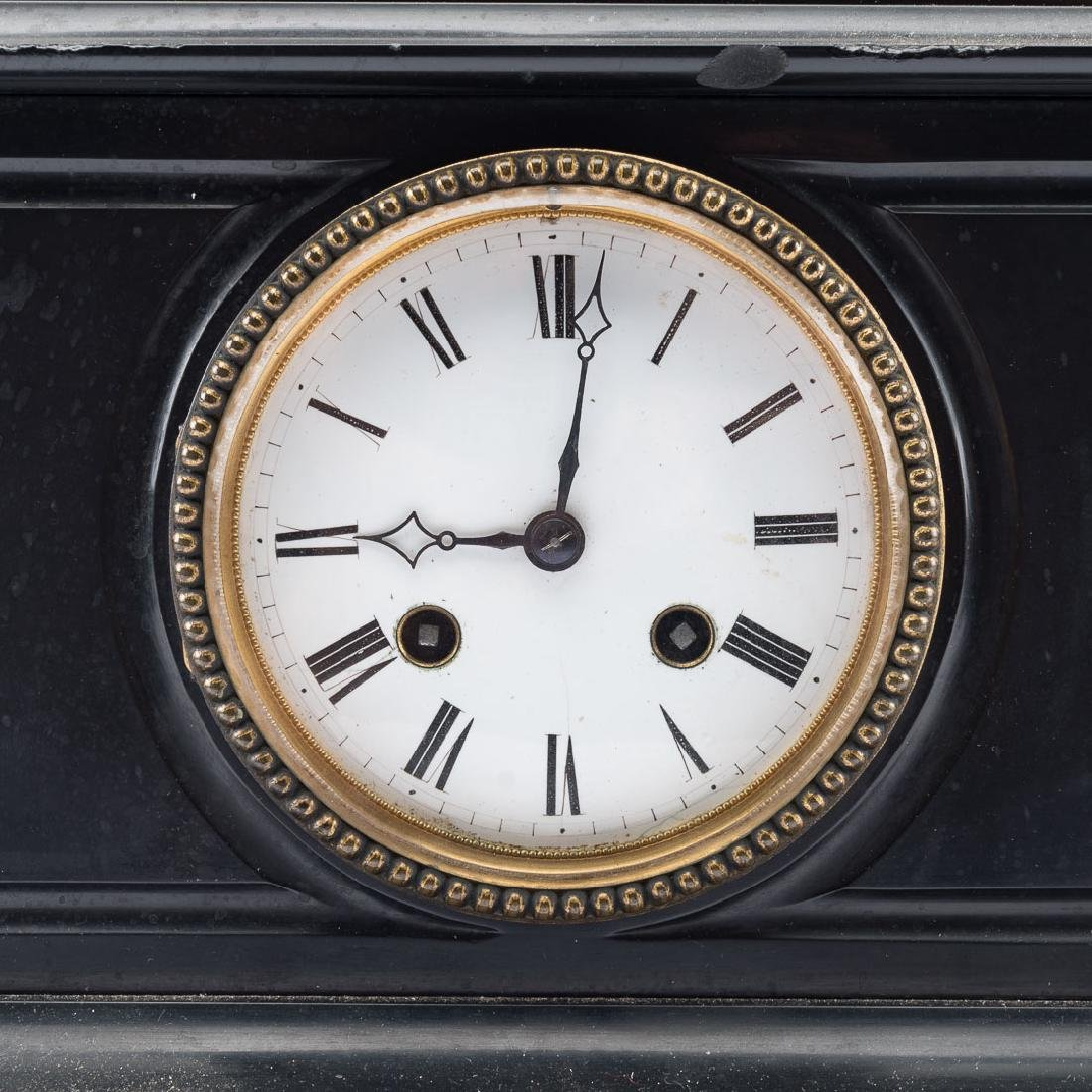 French bronze and marble mantel clock - 3