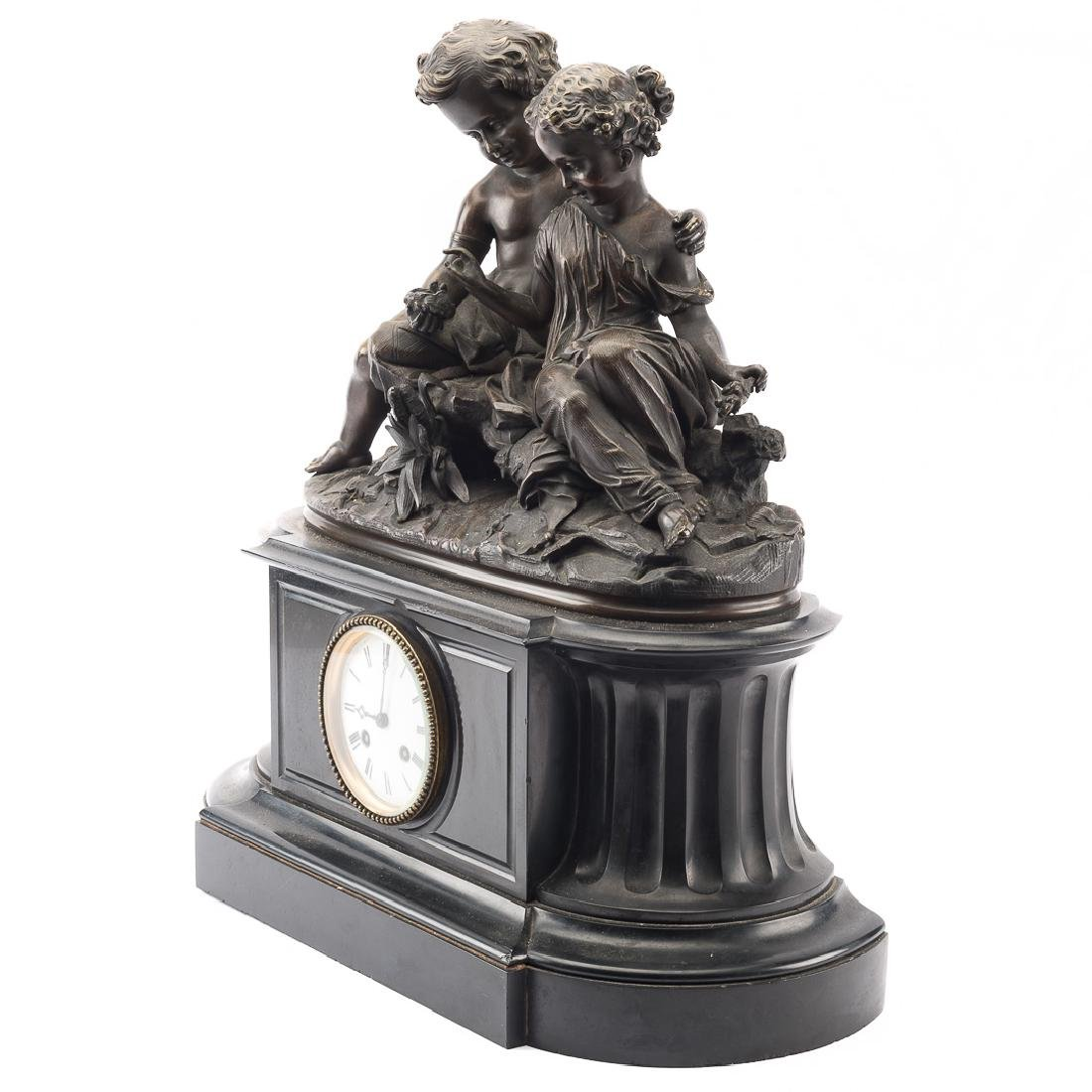 French bronze and marble mantel clock - 4