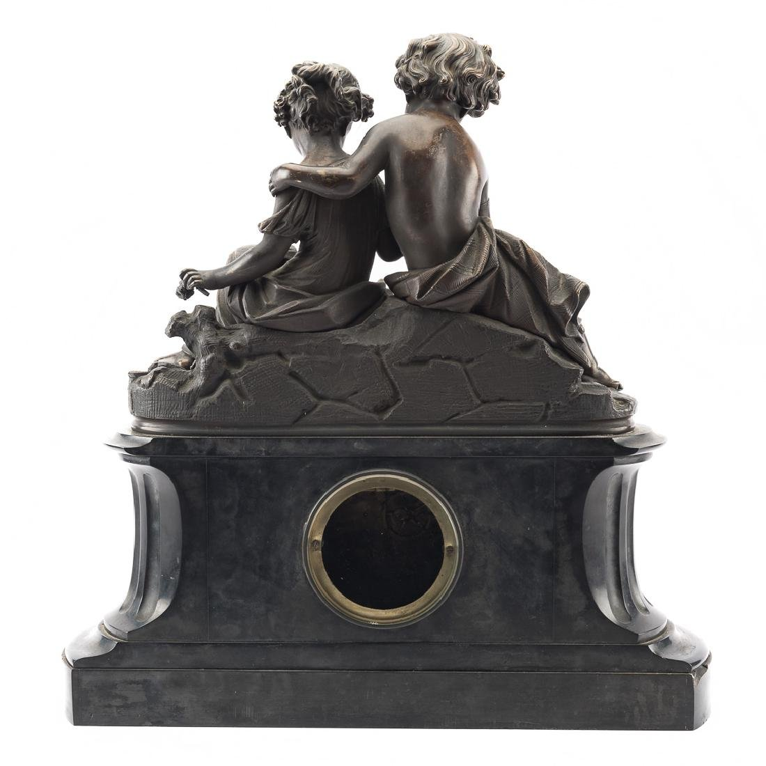 French bronze and marble mantel clock - 5
