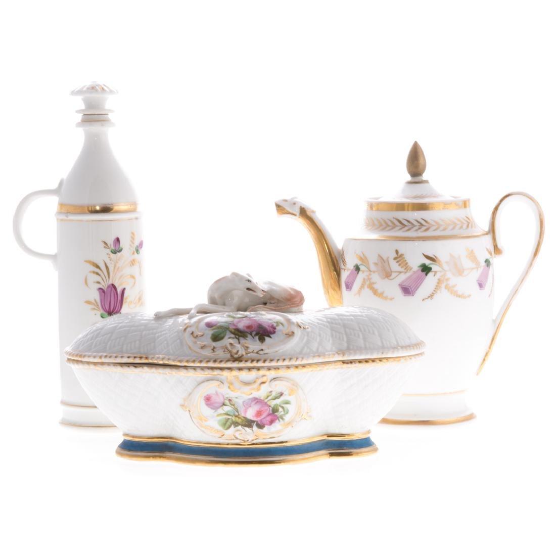 Four pieces French porcelain
