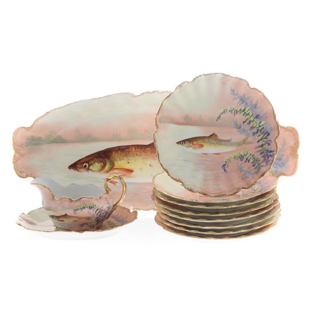 Limoges painted porcelain 11-piece fish set