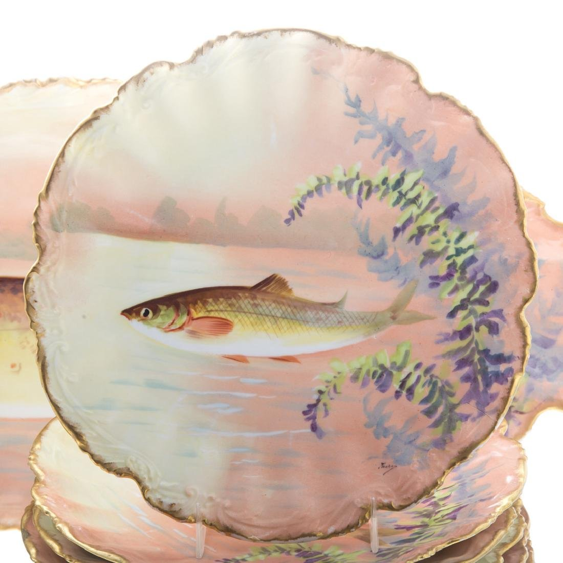Limoges painted porcelain 11-piece fish set - 2