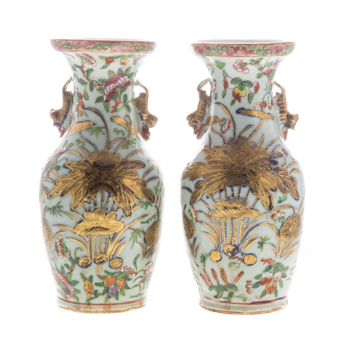 Pair Chinese Export Famille Rose vases