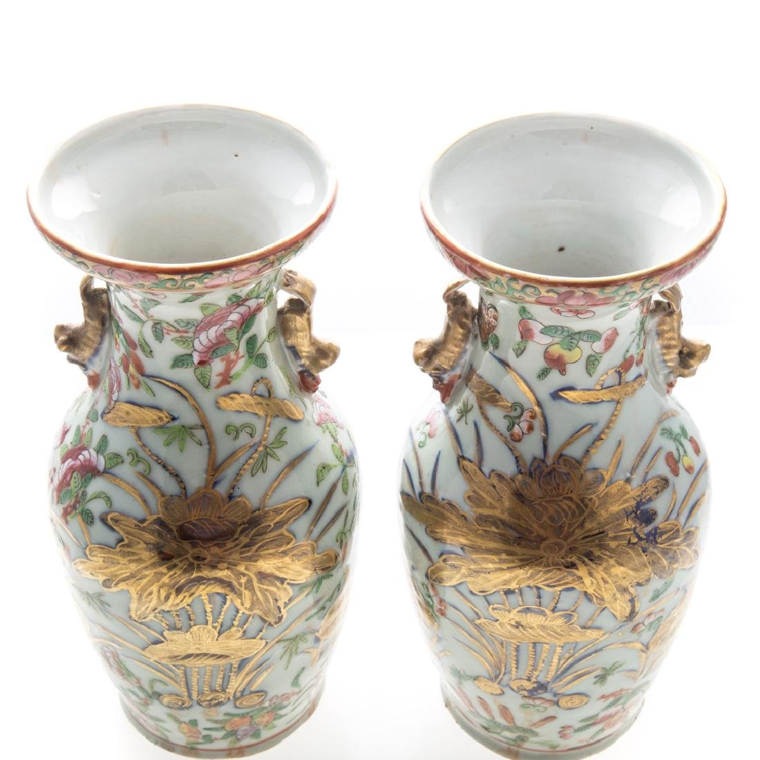 Pair Chinese Export Famille Rose vases - 2