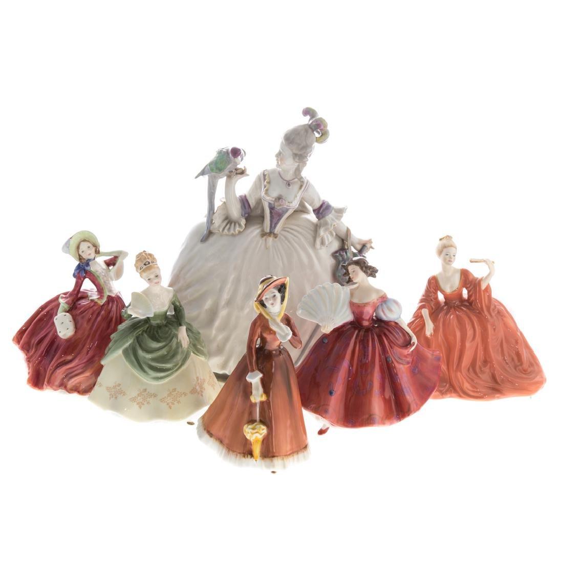 Six porcelain figures of ladies