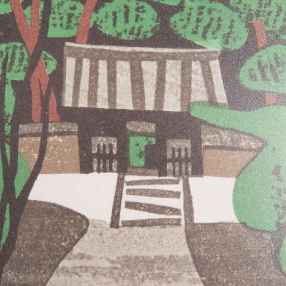 Kiyoshi Saito. Temple Gate in Forest woodblock - 2