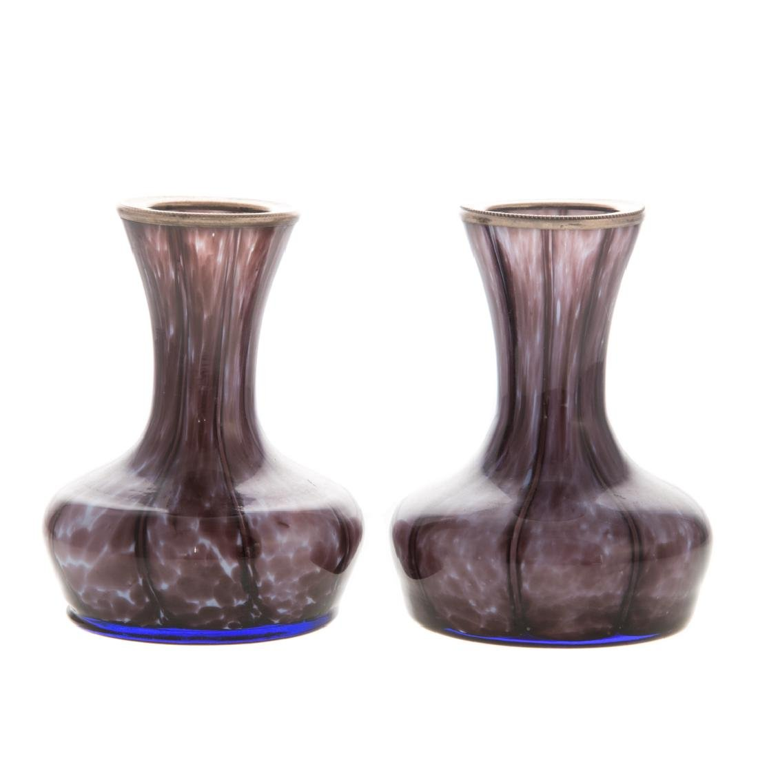 Pair amethyst cased glass silver-mounted vases - 2