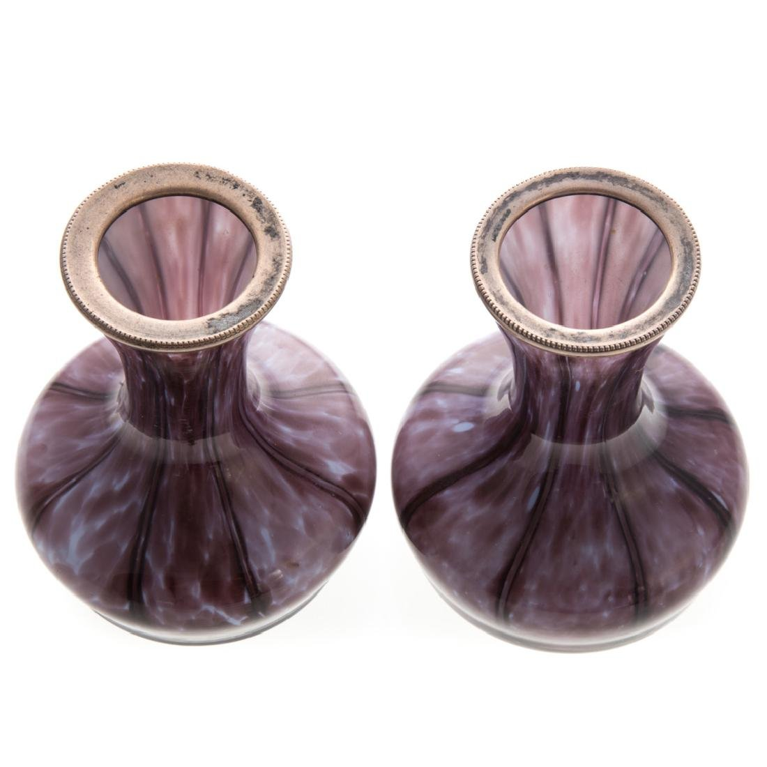 Pair amethyst cased glass silver-mounted vases - 3