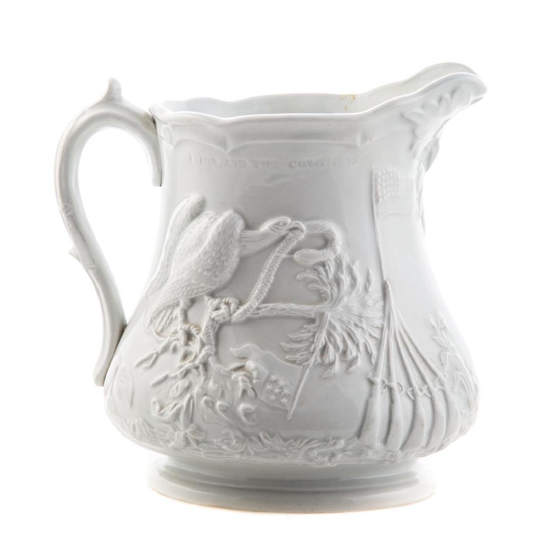 White graniteware Colonel Ellsworth pitcher