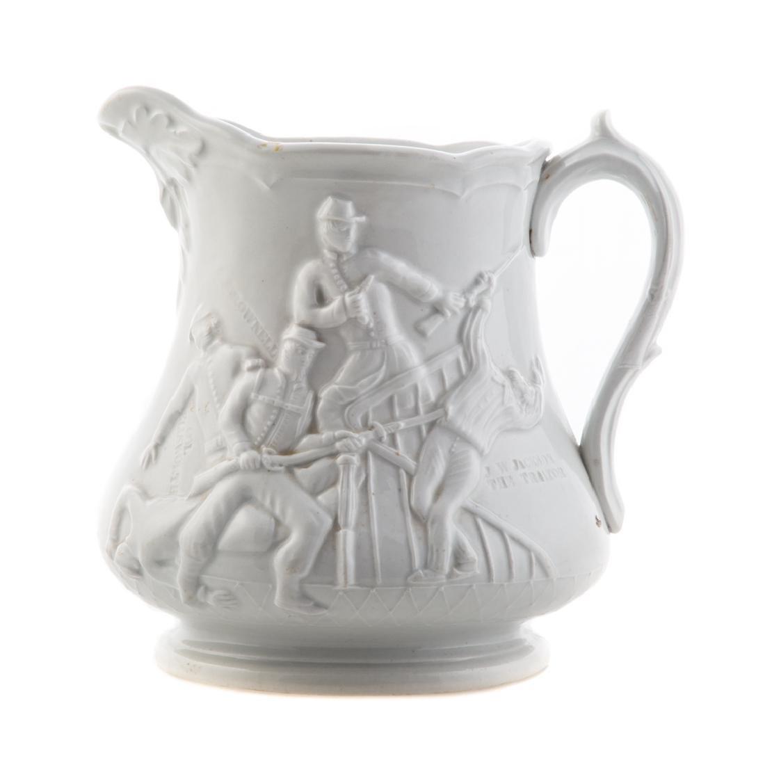White graniteware Colonel Ellsworth pitcher - 2