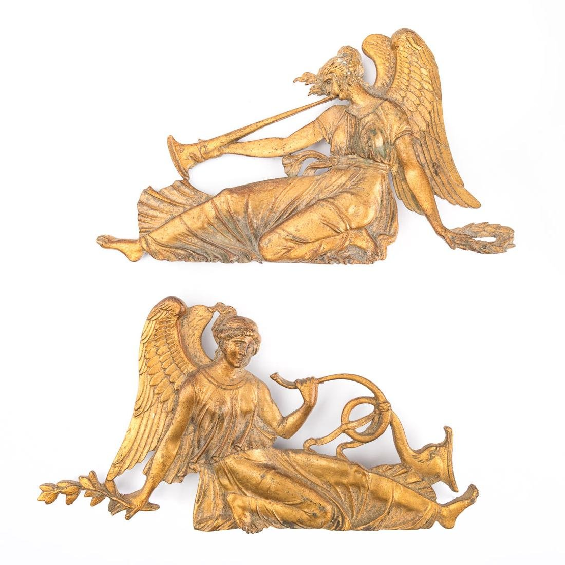 Four French Empire bronze dore mounts - 2