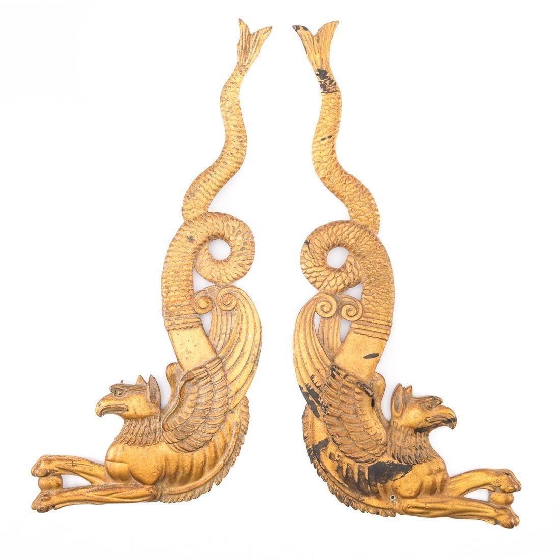 Four French Empire bronze dore mounts - 3