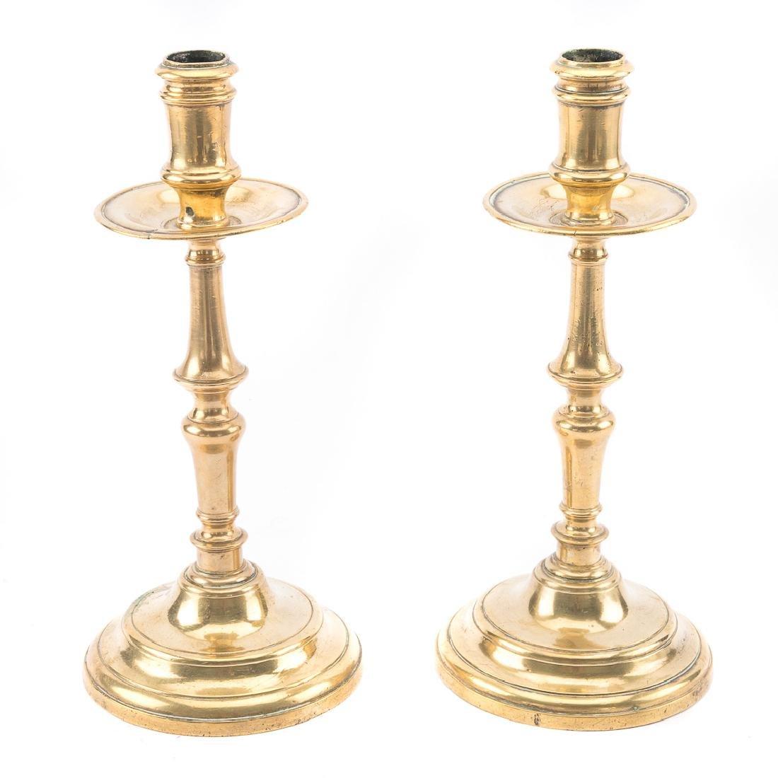 Pair of Dutch Heemskerk brass candlesticks