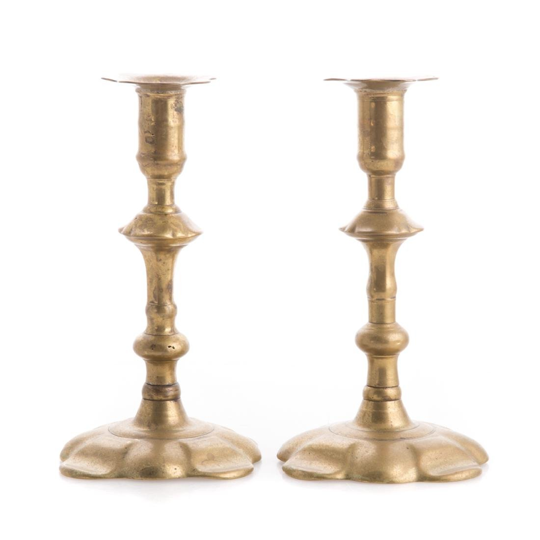Pair of George II brass petal base candlesticks - 2