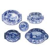 Five Staffordshire blue transferware articles