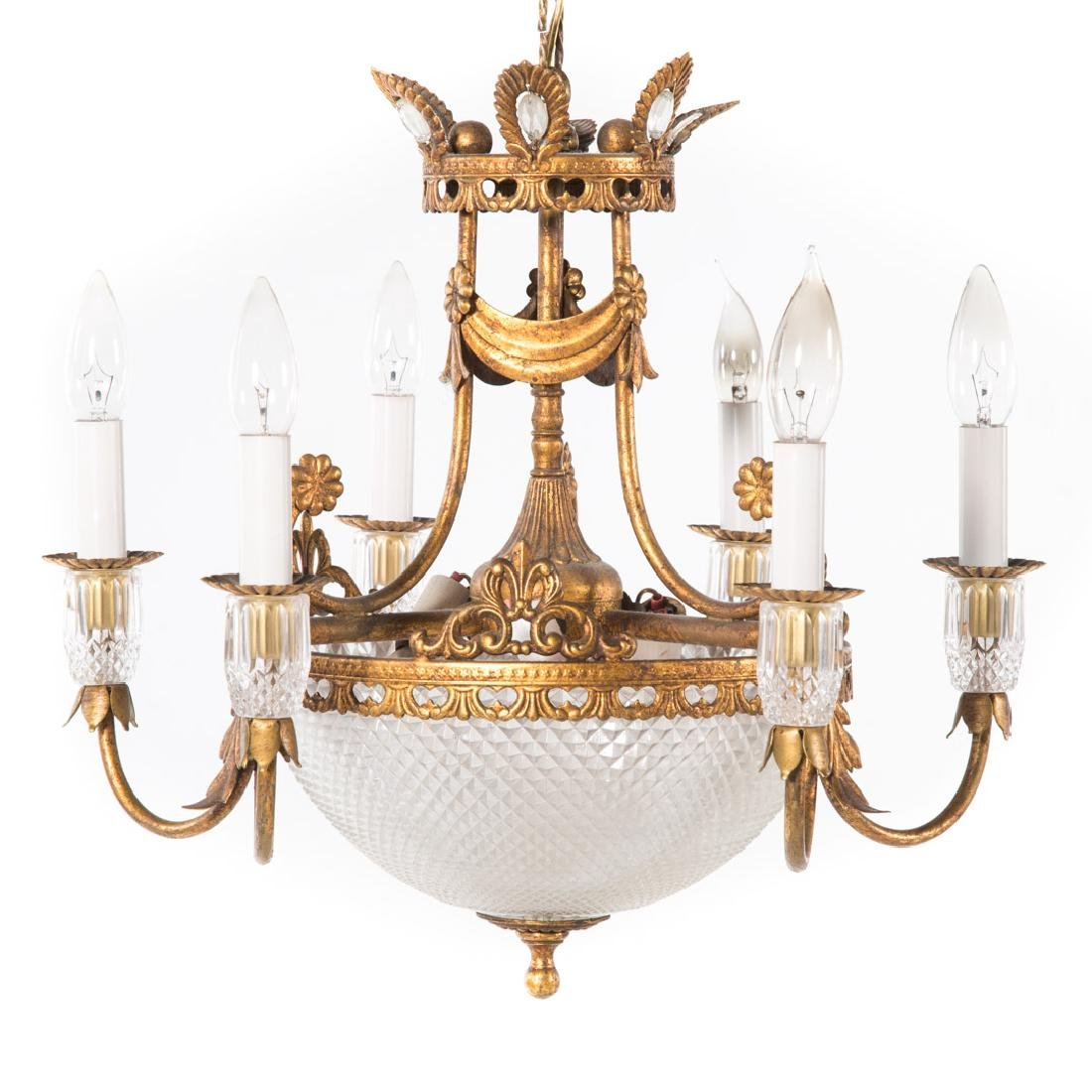Empire style gilt metal six light chandelier