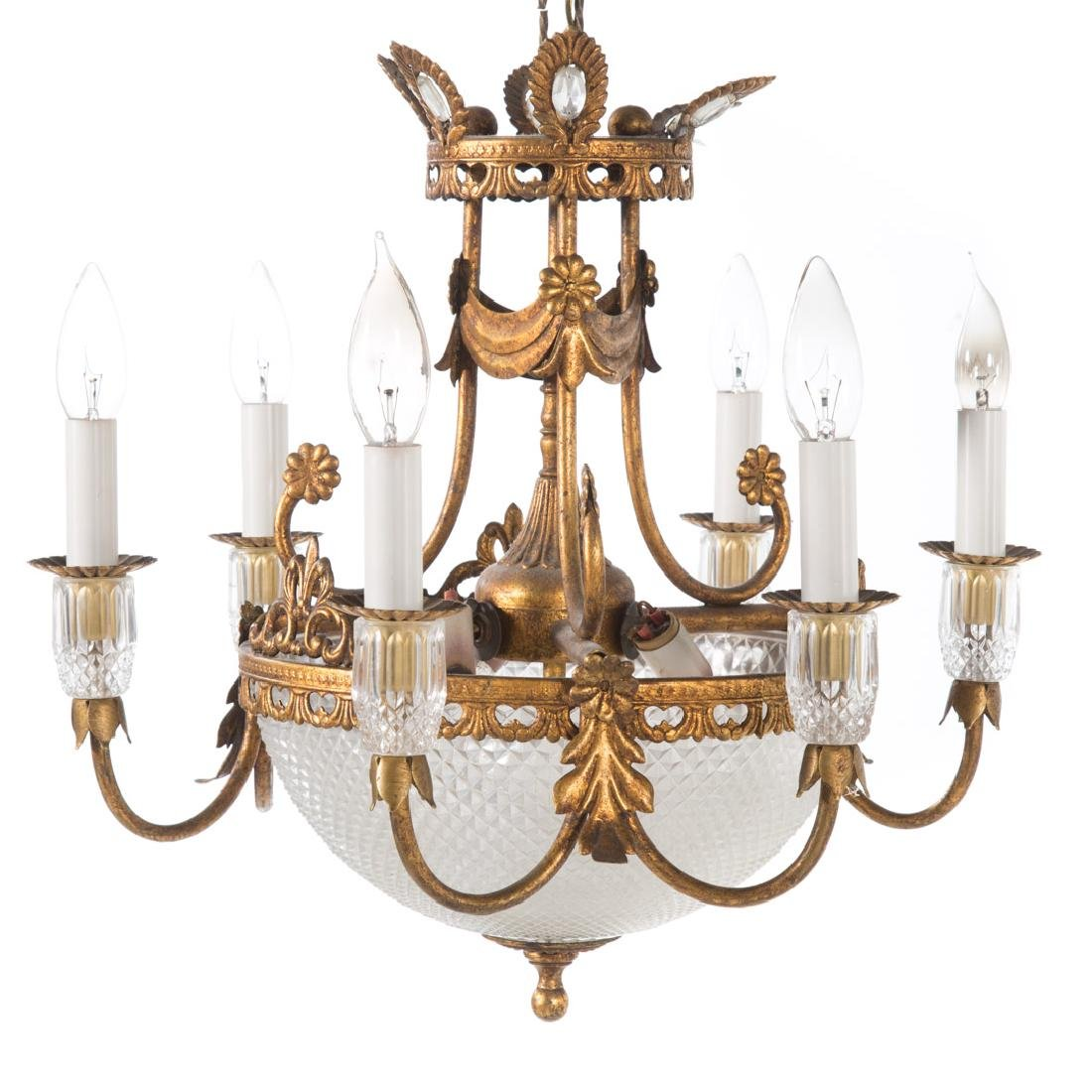 Empire style gilt metal six light chandelier - 2