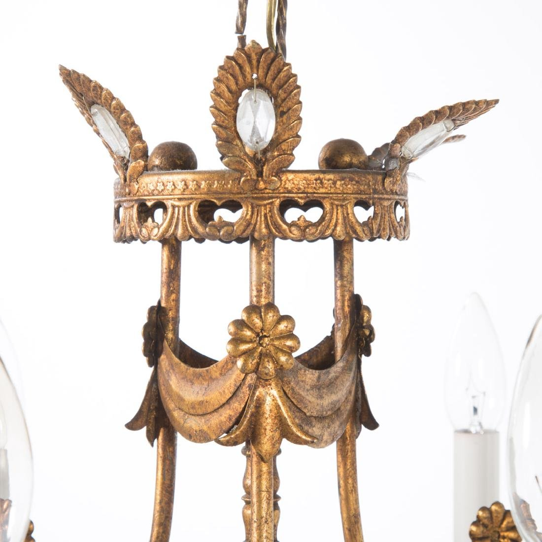 Empire style gilt metal six light chandelier - 3