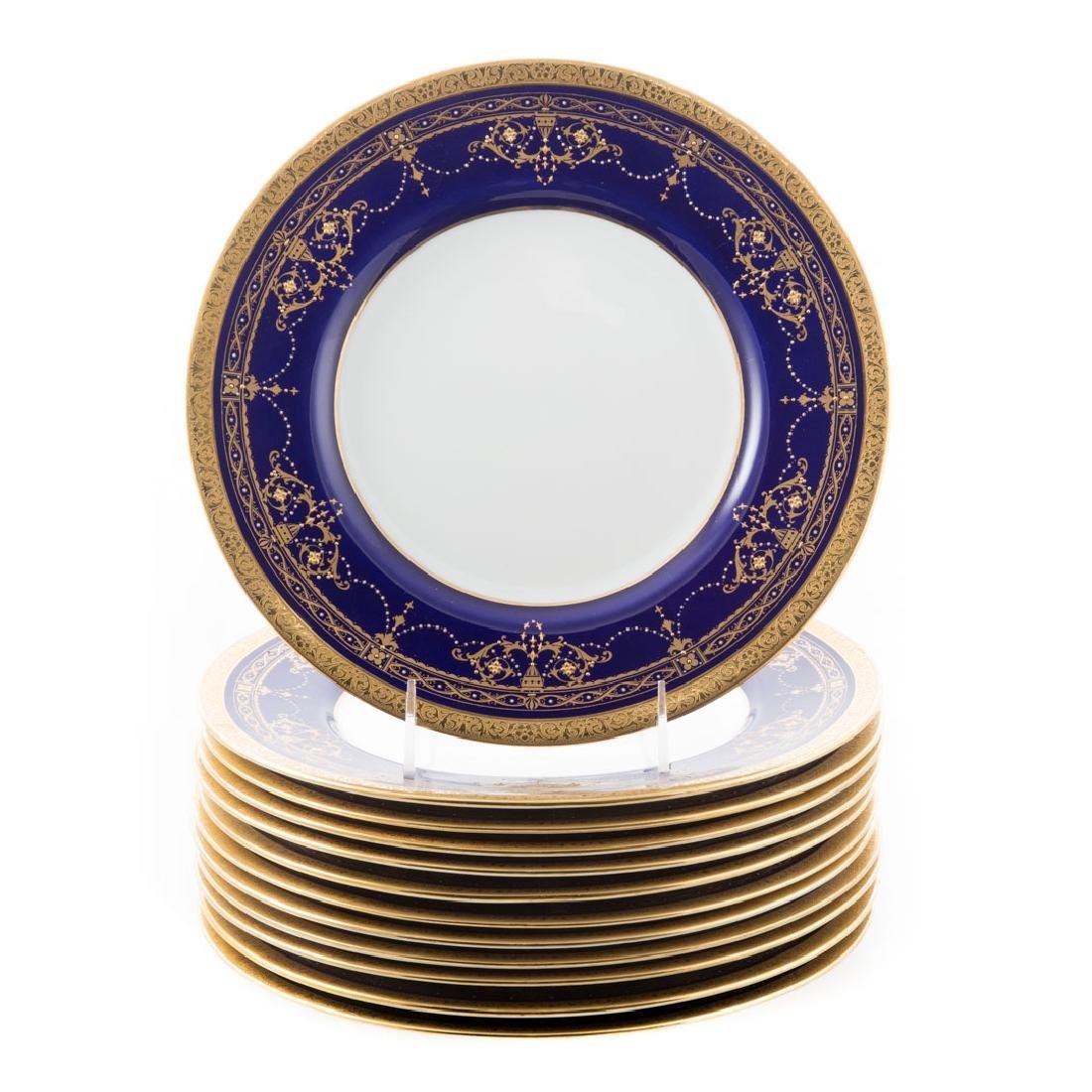 12 Minton china cobalt banded cabinet plates