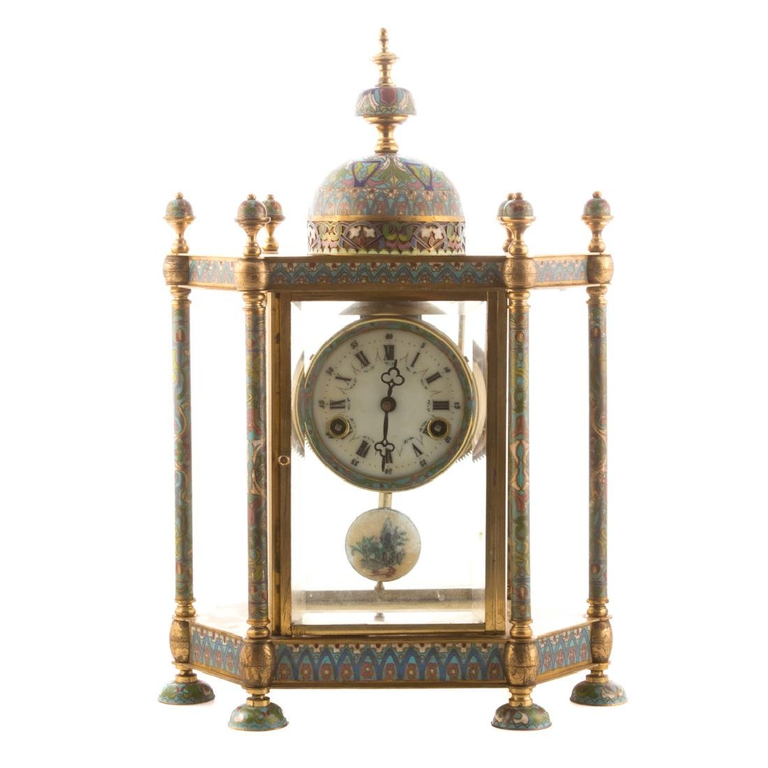 Chinese brass and cloisonne mantel clock