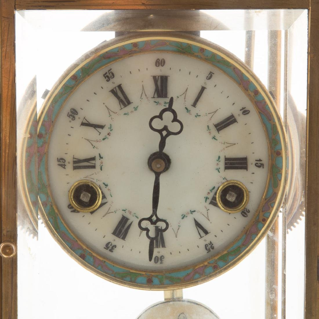 Chinese brass and cloisonne mantel clock - 3