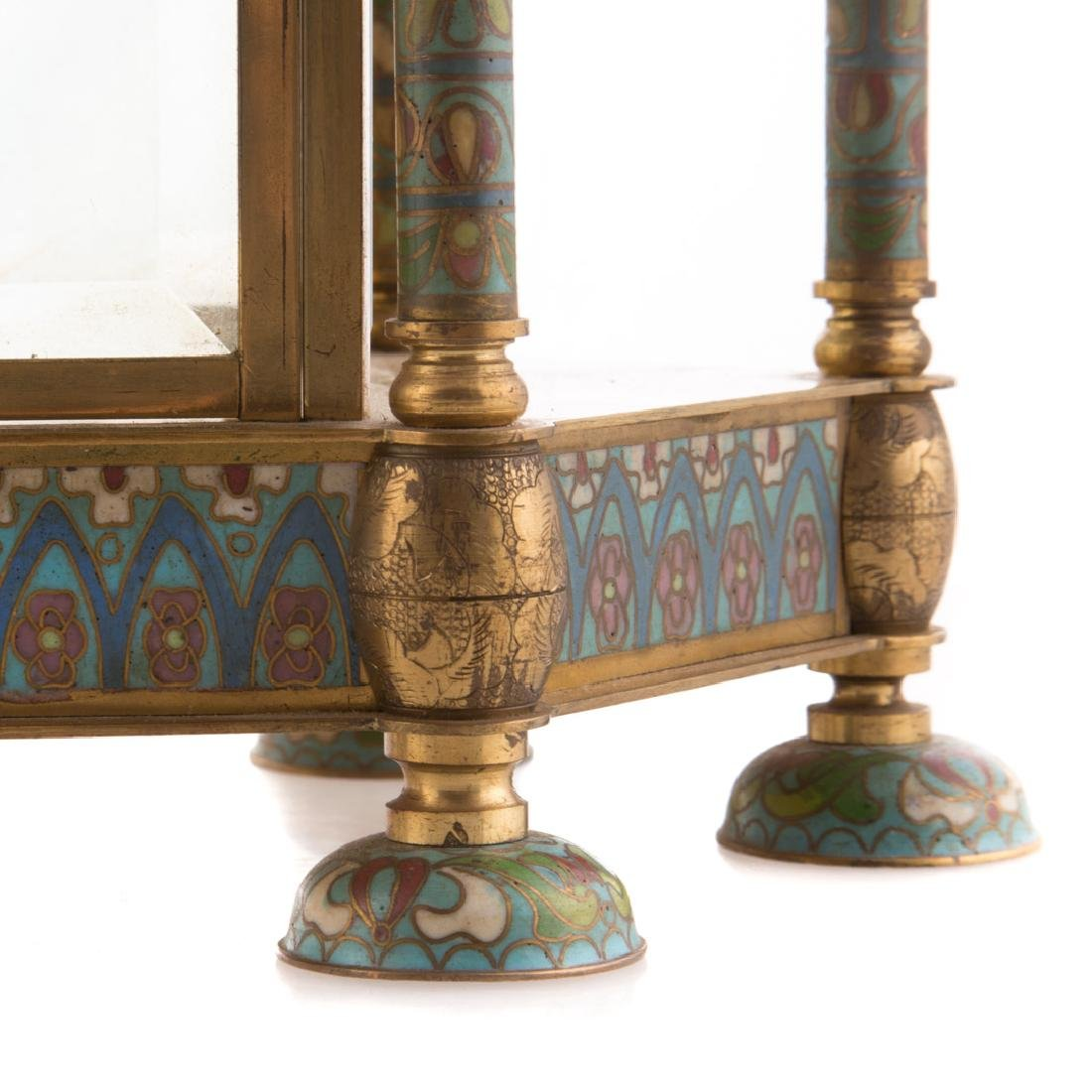 Chinese brass and cloisonne mantel clock - 4