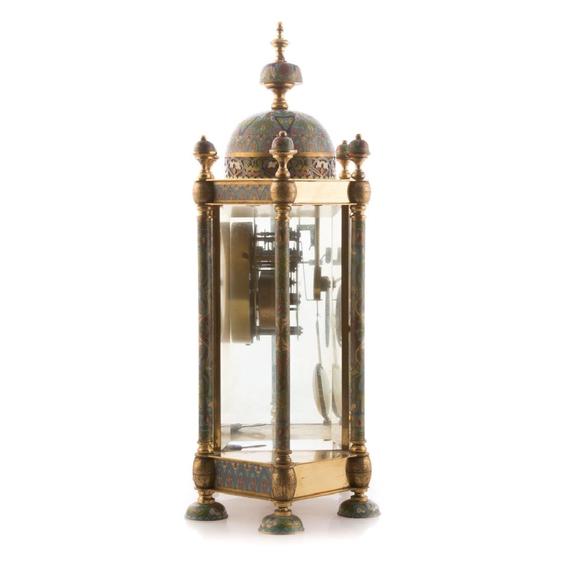 Chinese brass and cloisonne mantel clock - 5