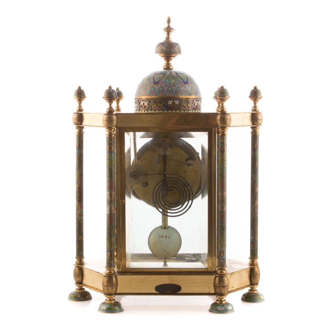 Chinese brass and cloisonne mantel clock - 6