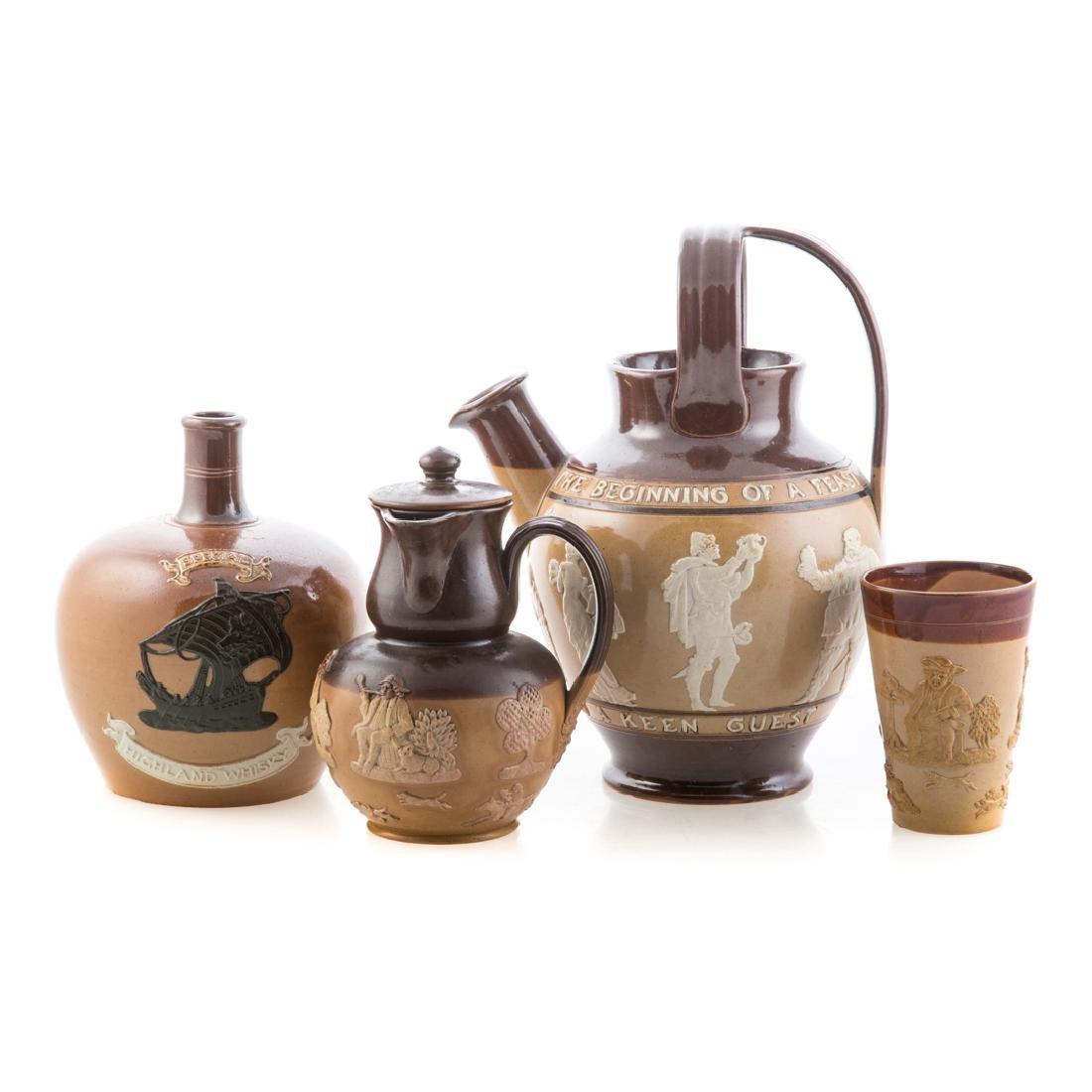 Four English salt glazed stoneware articles