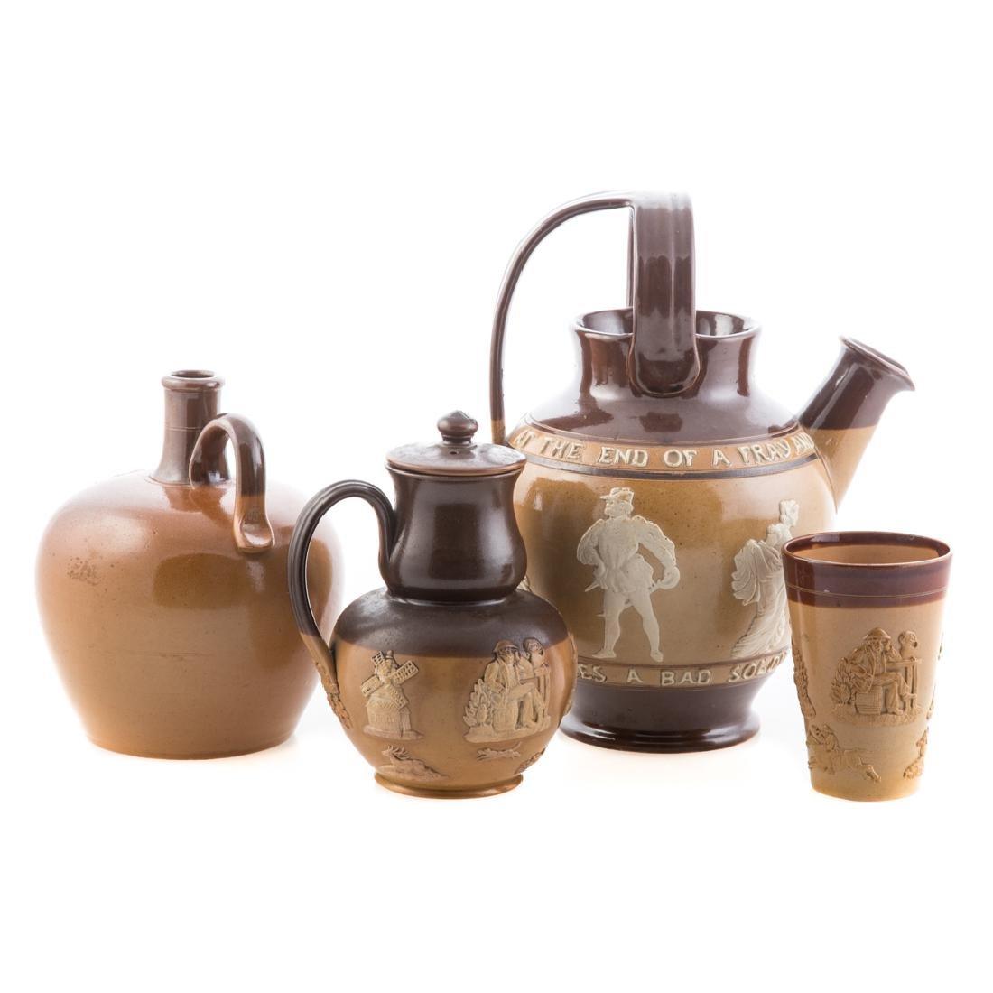Four English salt glazed stoneware articles - 3