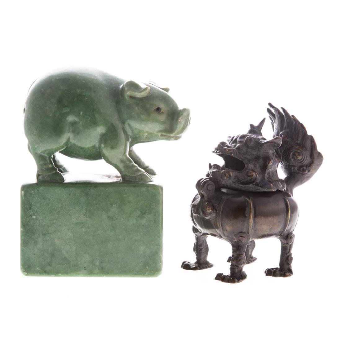 Chinese carved hardstone pig and bronze censor
