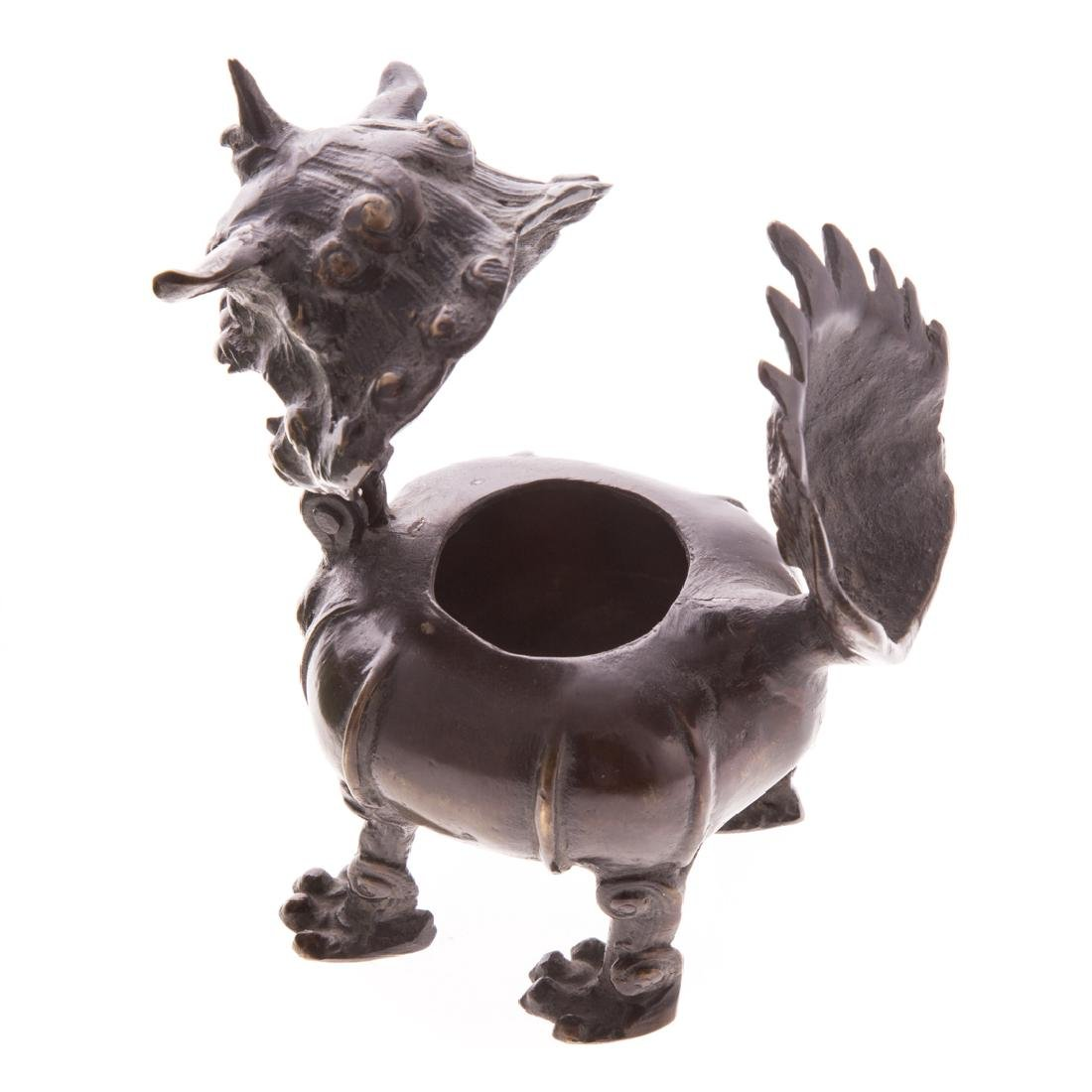Chinese carved hardstone pig and bronze censor - 3