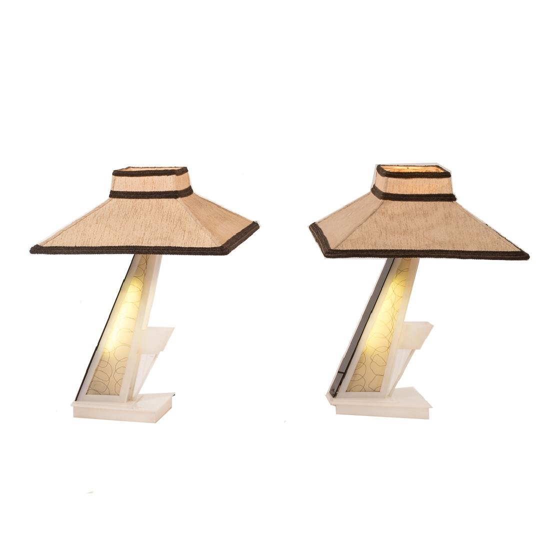 Pair Moss Mid-century Modern lucite table lamps - 6