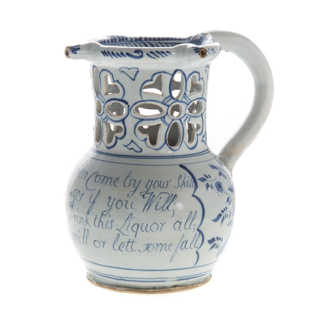 English blue and white Delftware puzzle jug