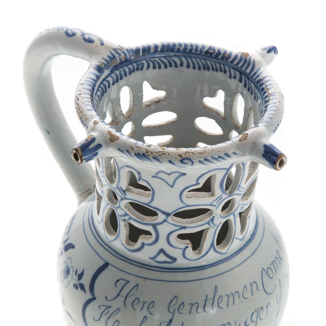 English blue and white Delftware puzzle jug - 2