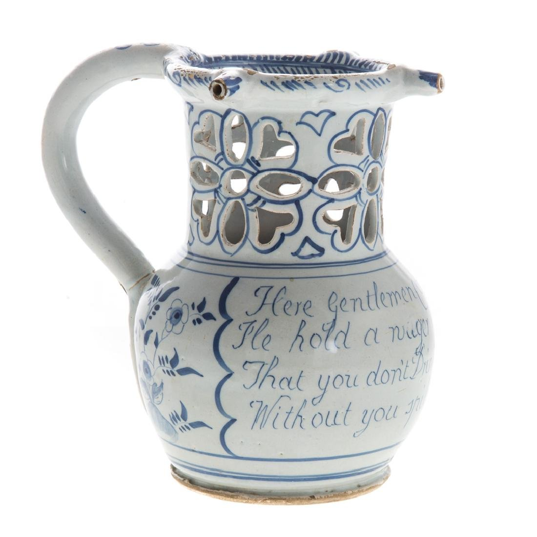 English blue and white Delftware puzzle jug - 3