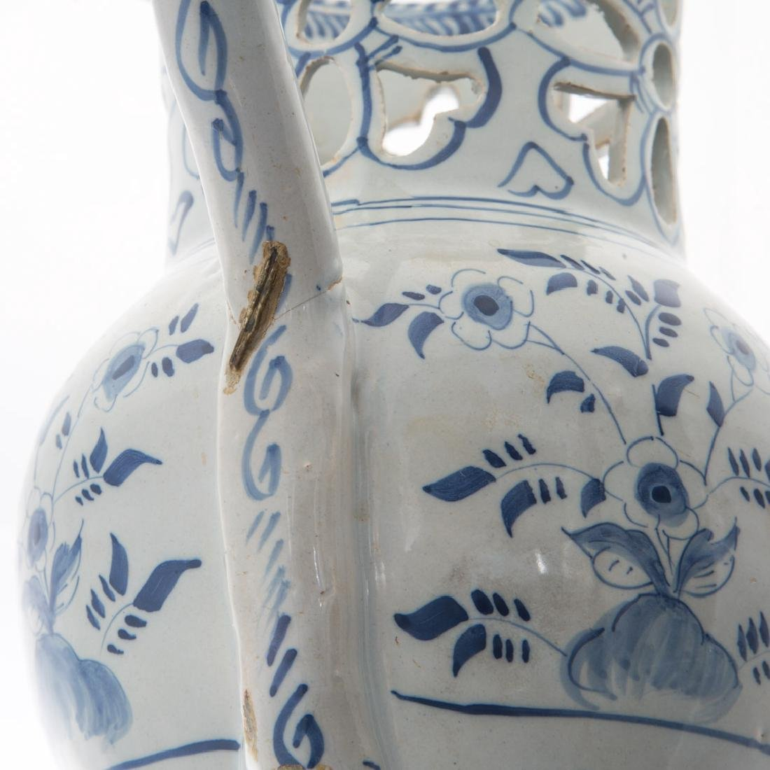English blue and white Delftware puzzle jug - 5