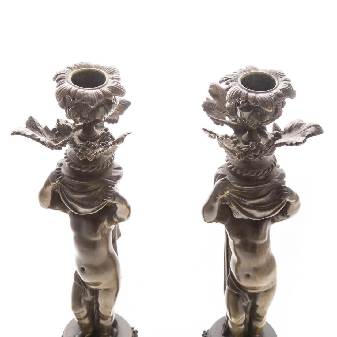 Pair of bronze putti candlesticks - 3