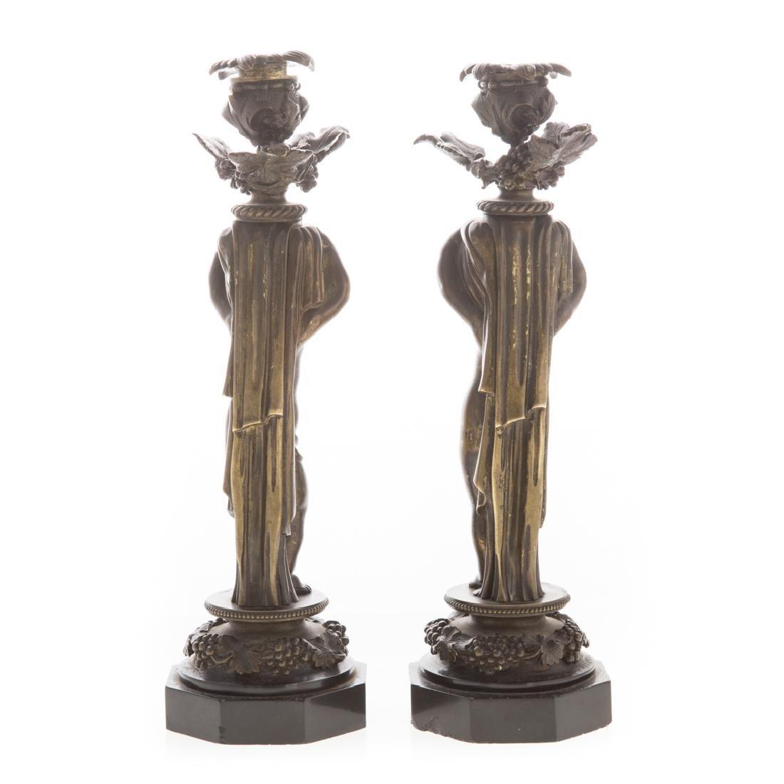 Pair of bronze putti candlesticks - 4