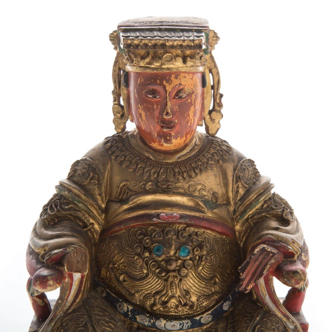 Chinese carved giltwood votive figure - 2